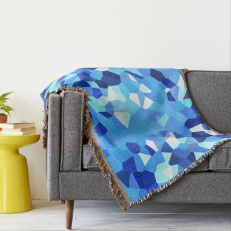 Modern - Blue and White Polygon Shape Abstract Throw Blanket