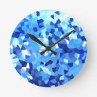 Modern Blue and White Stained Glass Mosaic Round Clock