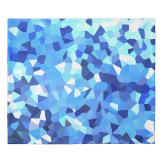 Modern Blue and White Stained Glass Ocean Mosaic Duvet Cover