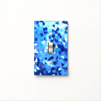 Modern Blue and White Stained Glass Ocean Mosaic Light Switch Cover