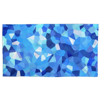 Modern Blue and White Stained Glass Ocean Mosaic Pillowcase