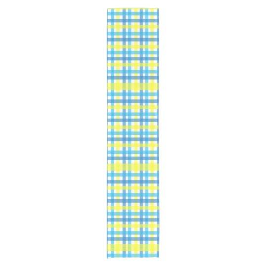 Modern blue and yellow gingham geometric pattern short table runner