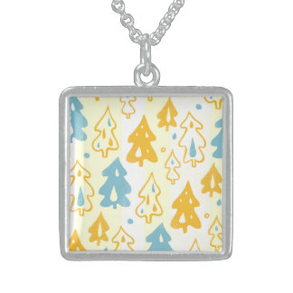 Modern Blue and Yellow Pine Trees Forest Pattern Pendants
