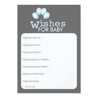 Modern Blue Balloon Boy Baby Shower Wishes Card