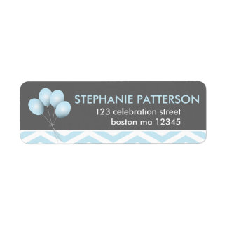 Modern Blue Balloon Return Address Label