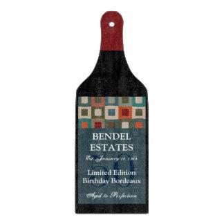 Modern Blue Birthday Wine Bottle Cutting Board