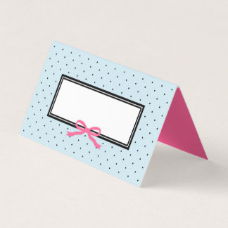 Modern Blue Black Polka Dot with Pink Ribbon Place Card