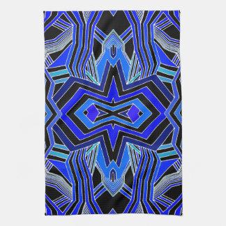 Modern Blue Black & White Geometric Kitchen Towel