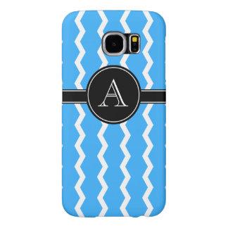 Modern Blue, Black, White Monogram Samsung Galaxy S6 Cases