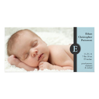 Modern Blue Boy Baby Birth Announcement Photocard Photo Card