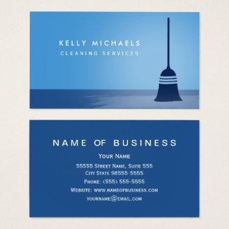 Modern Blue Broom Elegant Cleaning Services Business Card