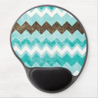 Modern Blue & Brown Chevron Pattern Gel Mouse Pad