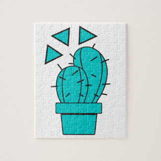 Modern Blue Cactus Design Jigsaw Puzzle