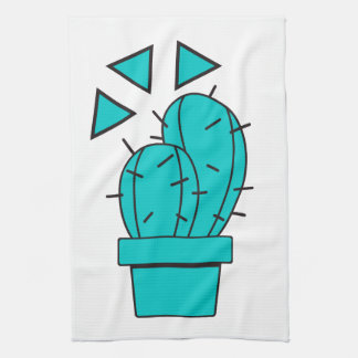 Modern Blue Cactus Design Kitchen Towel