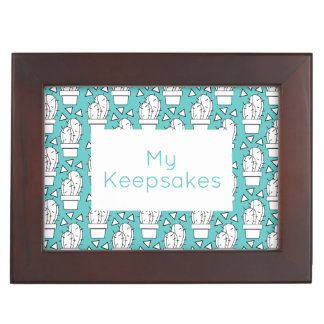 Modern Blue Cactus Pattern Keepsake Box