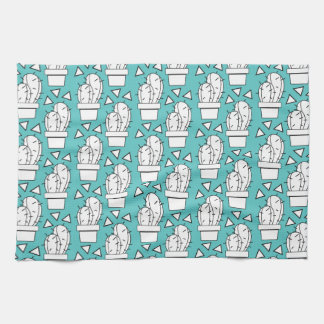 Modern Blue Cactus Pattern Kitchen Towel