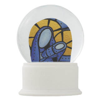 Modern Blue  Christmas Jesus Mary Mother And Child Snow Globe