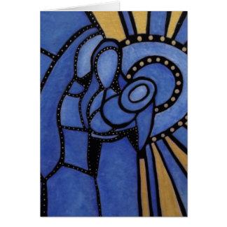 Modern Blue Christmas Nativity Jesus Mary Joseph Card