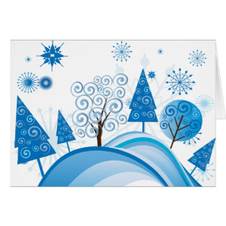 Modern Blue Christmas Trees and Snowflakes Greeting Card