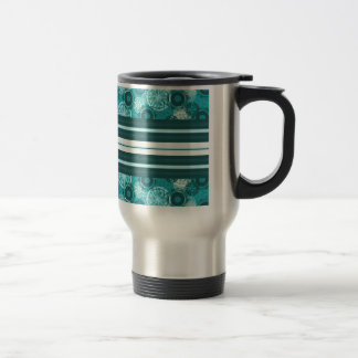 Modern Blue Circles and Stripes Travel Mug