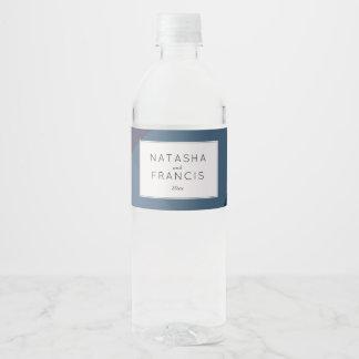 Modern Blue Color Block Water Bottle Label