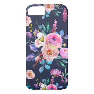 Modern Blue & Colorful Flowers Bouquet Pattern Case-Mate iPhone Case
