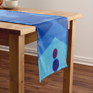 "Modern Blue Deco 14"" X 72"" Table Runner"