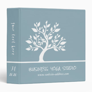 Modern Blue Elegant Classy Tree YOGA Instructor Vinyl Binder