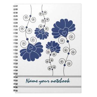 Modern Blue Floral Designer Notebooks