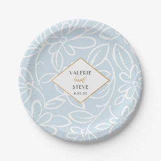 Modern blue floral wedding or bridal shower decor paper plate