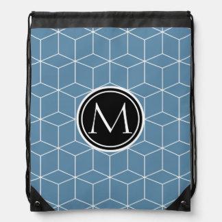Modern Blue Geometric and Monogrammed Pattern Drawstring Bag
