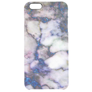 Modern Blue Glitter Pink And Gray Marble Clear iPhone 6 Plus Case