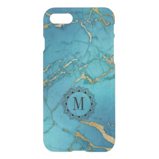 Modern Blue & Gold Marble Stone Monogram iPhone 8/7 Case