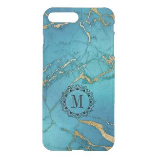 Modern Blue & Gold Marble Stone Monogram iPhone 8 Plus/7 Plus Case