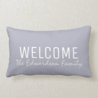 Modern blue gray summer Welcome Family monogram Lumbar Pillow