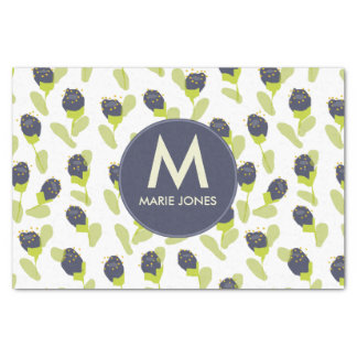 MODERN BLUE GREEN FLORAL PATTERN PERSONALISED TISSUE PAPER