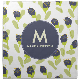 MODERN BLUE GREEN FLORAL PATTERN PERSONALIZED NAPKIN