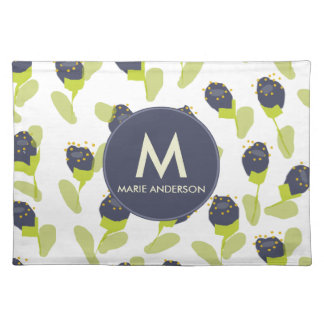 MODERN BLUE GREEN FLORAL PATTERN PERSONALIZED PLACEMAT
