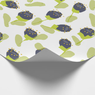 MODERN BLUE GREEN FLORAL PATTERN WRAPPING PAPER
