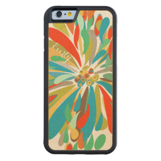 Modern Blue Green Red  Chrysanthemum on Wood Carved Maple iPhone 6 Bumper Case