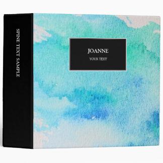 Modern blue green teal watercolor splatter vinyl binder