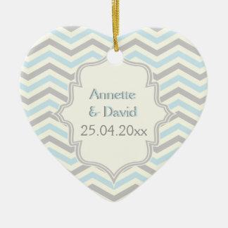 Modern blue, grey, ivory chevron pattern custom ceramic heart ornament