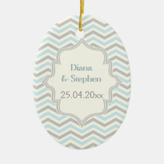Modern blue, grey, ivory chevron pattern custom ceramic oval ornament