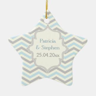 Modern blue, grey, ivory chevron pattern custom ceramic star ornament
