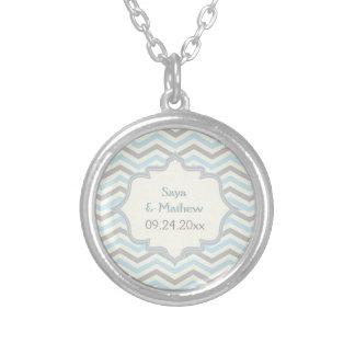 Modern blue, grey, ivory chevron pattern custom round pendant necklace