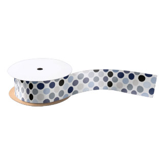 modern blue grey polka dots pattern monogram satin ribbon