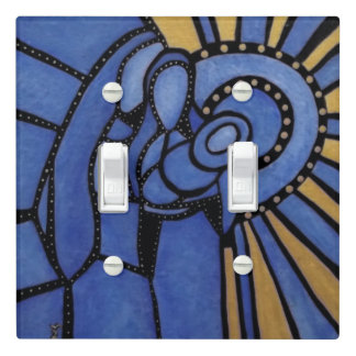 Modern Blue Holy Family Light Switch Cover