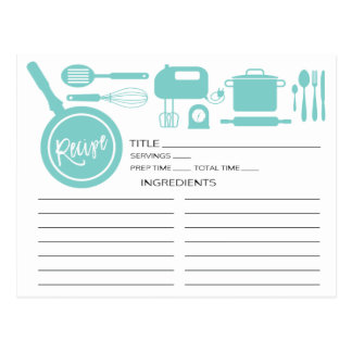Modern Blue Kitchen Utensils Recipe Card Postcard