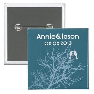 Modern Blue LoveBirds Tree WeddingFavor Pinback Buttons