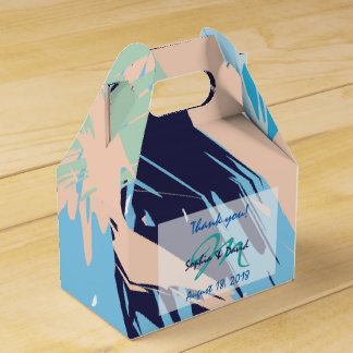 Modern Blue Maritime Monogram Wedding Favor Favor Box
